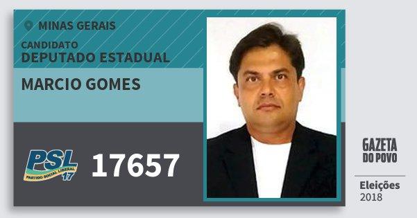 Santinho Marcio Gomes 17657 (PSL) Deputado Estadual | Minas Gerais | Eleições 2018
