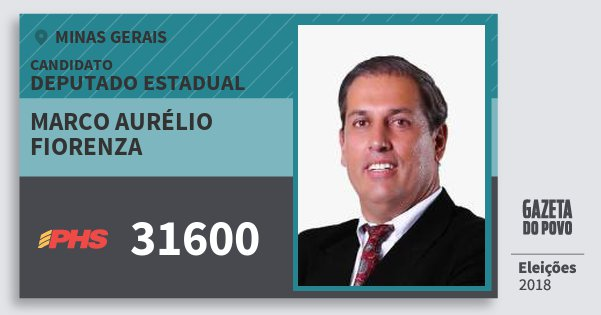 Santinho Marco Aurélio Fiorenza 31600 (PHS) Deputado Estadual | Minas Gerais | Eleições 2018
