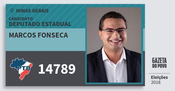 Santinho Marcos Fonseca 14789 (PTB) Deputado Estadual | Minas Gerais | Eleições 2018