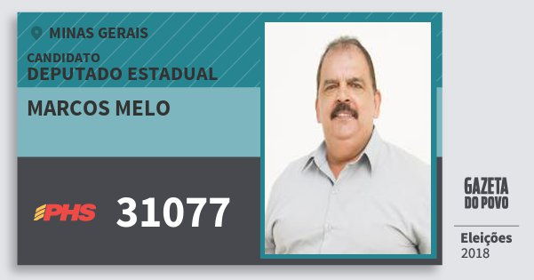 Santinho Marcos Melo 31077 (PHS) Deputado Estadual | Minas Gerais | Eleições 2018