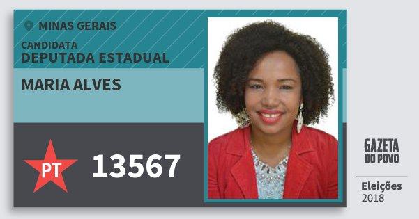 Santinho Maria Alves 13567 (PT) Deputada Estadual | Minas Gerais | Eleições 2018