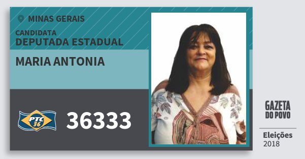 Santinho Maria Antonia 36333 (PTC) Deputada Estadual | Minas Gerais | Eleições 2018