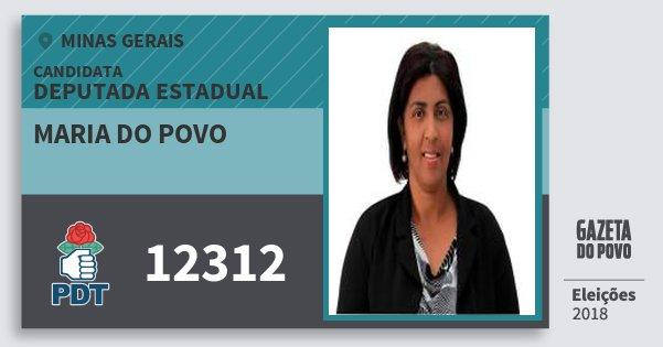 Santinho Maria do Povo 12312 (PDT) Deputada Estadual | Minas Gerais | Eleições 2018