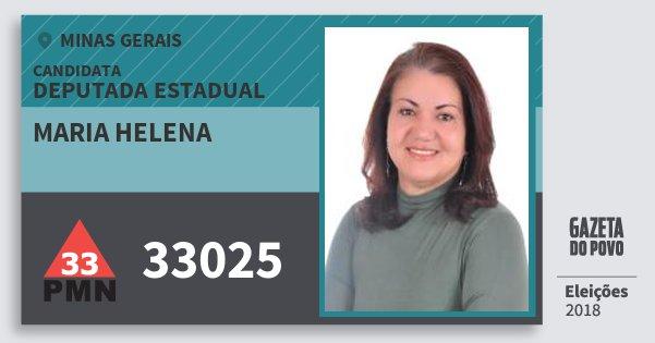 Santinho Maria Helena 33025 (PMN) Deputada Estadual | Minas Gerais | Eleições 2018