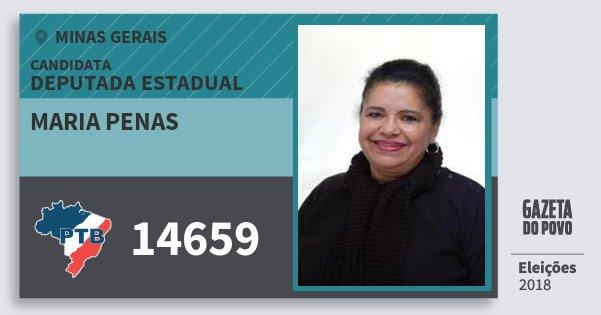 Santinho Maria Penas 14659 (PTB) Deputada Estadual | Minas Gerais | Eleições 2018