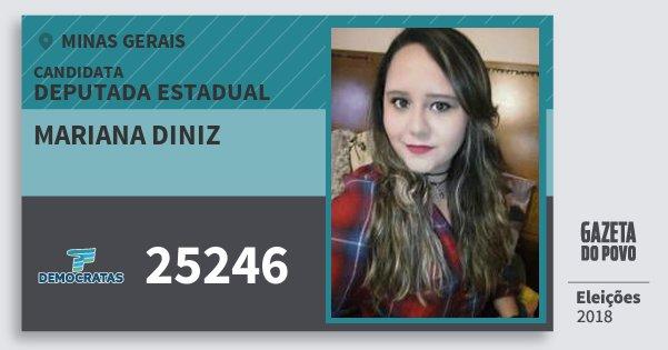 Santinho Mariana Diniz 25246 (DEM) Deputada Estadual | Minas Gerais | Eleições 2018