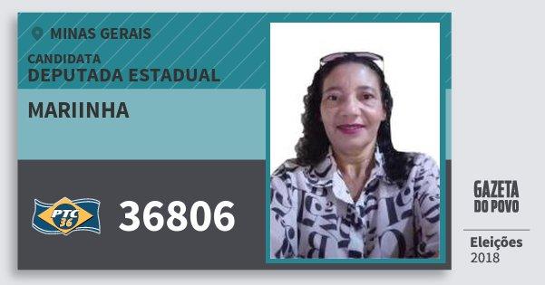 Santinho Mariinha 36806 (PTC) Deputada Estadual | Minas Gerais | Eleições 2018