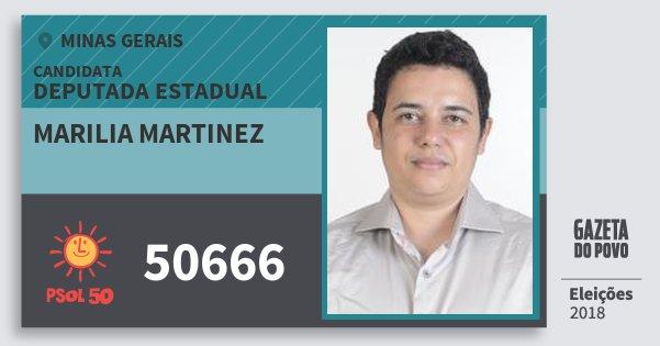 Santinho Marilia Martinez 50666 (PSOL) Deputada Estadual | Minas Gerais | Eleições 2018