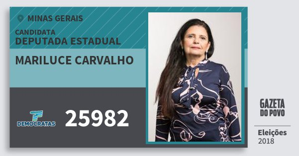 Santinho Mariluce Carvalho 25982 (DEM) Deputada Estadual | Minas Gerais | Eleições 2018