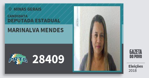 Santinho Marinalva Mendes 28409 (PRTB) Deputada Estadual | Minas Gerais | Eleições 2018