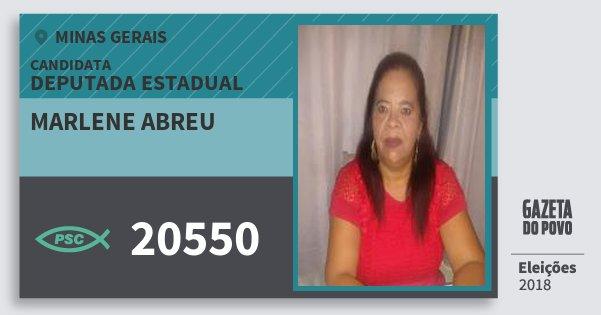 Santinho Marlene Abreu 20550 (PSC) Deputada Estadual | Minas Gerais | Eleições 2018