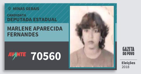 Santinho Marlene Aparecida Fernandes 70560 (AVANTE) Deputada Estadual | Minas Gerais | Eleições 2018
