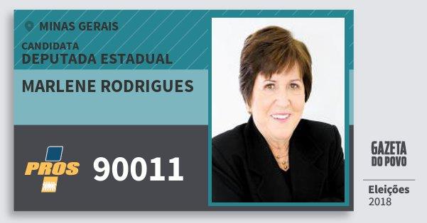 Santinho Marlene Rodrigues 90011 (PROS) Deputada Estadual | Minas Gerais | Eleições 2018