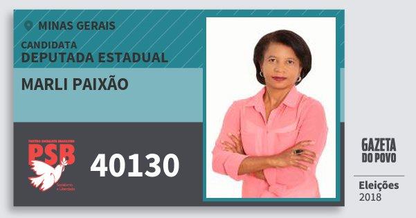 Santinho Marli Paixão 40130 (PSB) Deputada Estadual | Minas Gerais | Eleições 2018