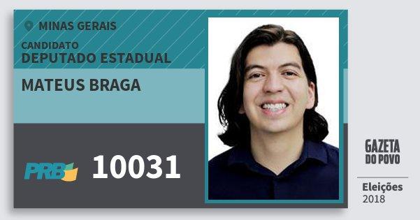 Santinho Mateus Braga 10031 (PRB) Deputado Estadual | Minas Gerais | Eleições 2018