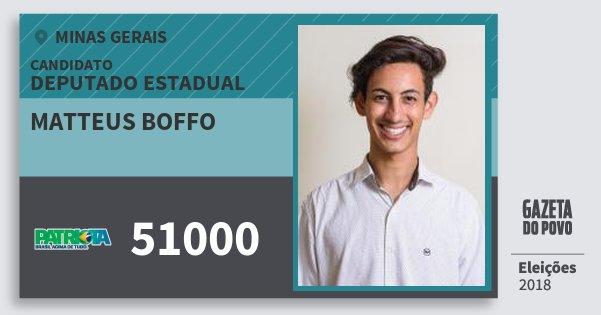 Santinho Matteus Boffo 51000 (PATRI) Deputado Estadual | Minas Gerais | Eleições 2018