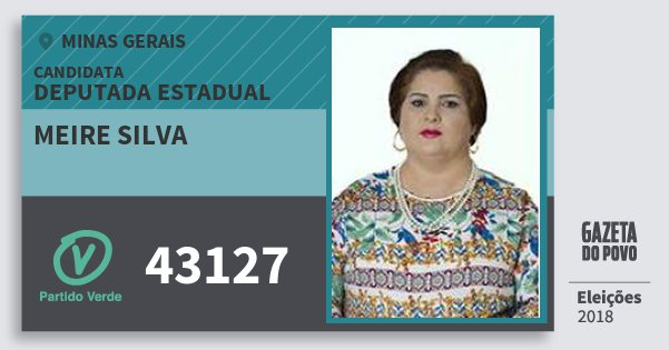 Santinho Meire Silva 43127 (PV) Deputada Estadual | Minas Gerais | Eleições 2018