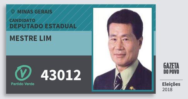 Santinho Mestre Lim 43012 (PV) Deputado Estadual | Minas Gerais | Eleições 2018