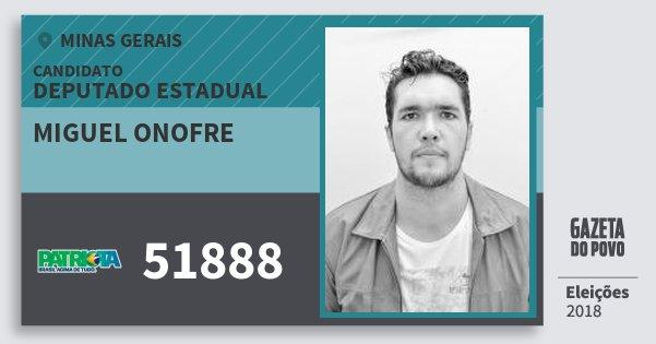 Santinho Miguel Onofre 51888 (PATRI) Deputado Estadual | Minas Gerais | Eleições 2018