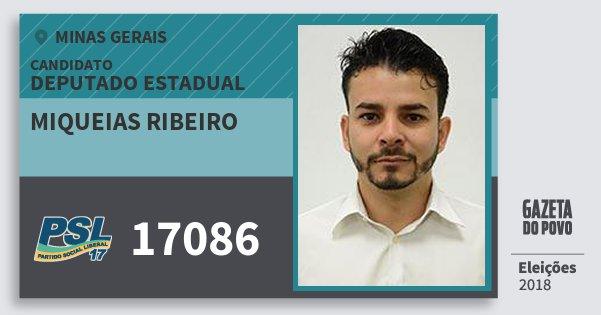 Santinho Miqueias Ribeiro 17086 (PSL) Deputado Estadual | Minas Gerais | Eleições 2018