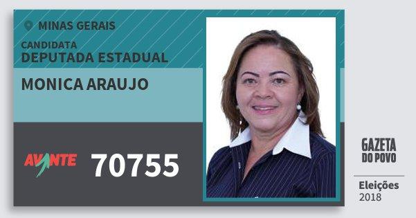 Santinho Monica Araujo 70755 (AVANTE) Deputada Estadual | Minas Gerais | Eleições 2018