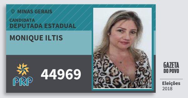Santinho Monique Iltis 44969 (PRP) Deputada Estadual | Minas Gerais | Eleições 2018