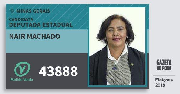 Santinho Nair Machado 43888 (PV) Deputada Estadual | Minas Gerais | Eleições 2018