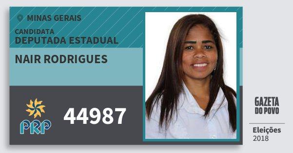 Santinho Nair Rodrigues 44987 (PRP) Deputada Estadual | Minas Gerais | Eleições 2018
