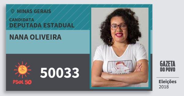 Santinho Nana Oliveira 50033 (PSOL) Deputada Estadual | Minas Gerais | Eleições 2018
