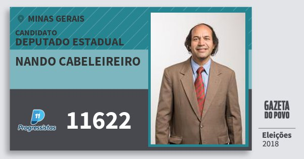 Santinho Nando Cabeleireiro 11622 (PP) Deputado Estadual | Minas Gerais | Eleições 2018