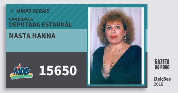Santinho Nasta Hanna 15650 (MDB) Deputada Estadual | Minas Gerais | Eleições 2018