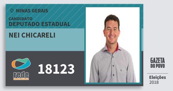 Santinho Nei Chicareli 18123 (REDE) Deputado Estadual | Minas Gerais | Eleições 2018