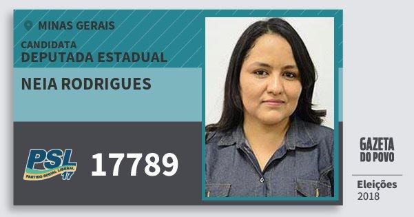 Santinho Neia Rodrigues 17789 (PSL) Deputada Estadual | Minas Gerais | Eleições 2018
