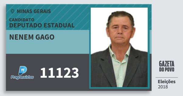 70e3e3c06d437 Santinho Nenem Gago 11123 (PP) Deputado Estadual   Minas Gerais   Eleições  2018. Compartilhe este candidato