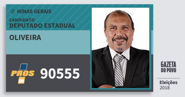 Santinho Oliveira 90555 (PROS) Deputado Estadual | Minas Gerais | Eleições 2018