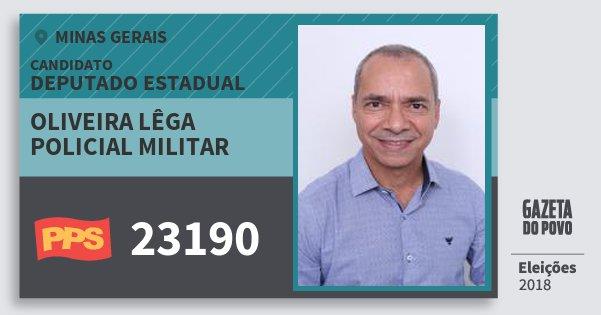 Santinho Oliveira Lêga Policial Militar 23190 (PPS) Deputado Estadual | Minas Gerais | Eleições 2018