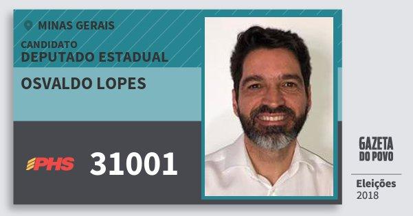 Santinho Osvaldo Lopes 31001 (PHS) Deputado Estadual   Minas Gerais   Eleições 2018