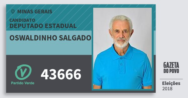 Santinho Oswaldinho Salgado 43666 (PV) Deputado Estadual | Minas Gerais | Eleições 2018