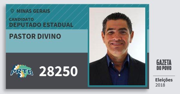 Santinho Pastor Divino 28250 (PRTB) Deputado Estadual | Minas Gerais | Eleições 2018