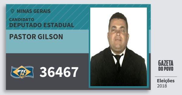 Santinho Pastor Gilson 36467 (PTC) Deputado Estadual | Minas Gerais | Eleições 2018