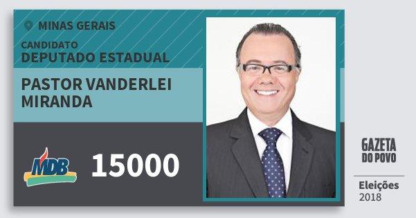 Santinho Pastor Vanderlei Miranda 15000 (MDB) Deputado Estadual | Minas Gerais | Eleições 2018