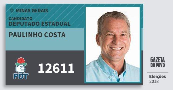 Santinho Paulinho Costa 12611 (PDT) Deputado Estadual   Minas Gerais   Eleições 2018