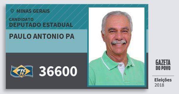 Santinho Paulo Antonio Pa 36600 (PTC) Deputado Estadual | Minas Gerais | Eleições 2018