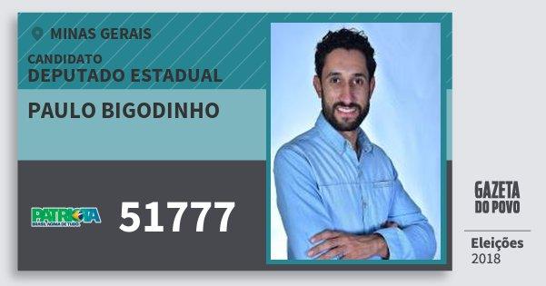 Santinho Paulo Bigodinho 51777 (PATRI) Deputado Estadual | Minas Gerais | Eleições 2018