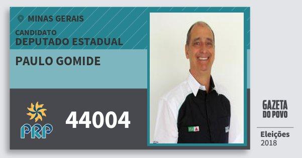 Santinho Paulo Gomide 44004 (PRP) Deputado Estadual | Minas Gerais | Eleições 2018
