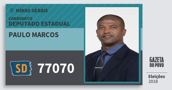 Santinho Paulo Marcos 77070 (SOLIDARIEDADE) Deputado Estadual | Minas Gerais | Eleições 2018