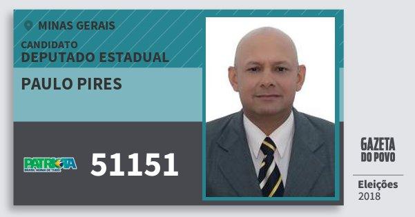 Santinho Paulo Pires 51151 (PATRI) Deputado Estadual | Minas Gerais | Eleições 2018