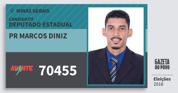 Santinho Pr Marcos Diniz 70455 (AVANTE) Deputado Estadual | Minas Gerais | Eleições 2018