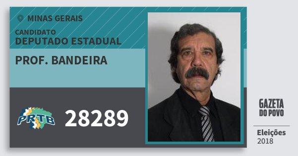 Santinho Prof. Bandeira 28289 (PRTB) Deputado Estadual | Minas Gerais | Eleições 2018