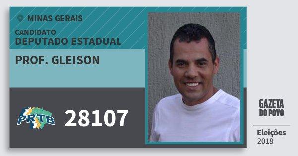 Santinho Prof. Gleison 28107 (PRTB) Deputado Estadual | Minas Gerais | Eleições 2018